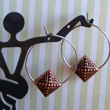 Hoops And Squares - Copper And Stainless Steel Mixed Metal Hoop Earrings