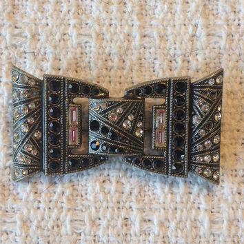 Antique Art Deco Rhinestone and Onyx  Brooch Shaped like a Bow Tie, Beaded Pot Metal, 1920s, 1930s