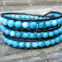 Beaded Leather Wrap Bracelet 3 Wrap with Blue Turquoise Beads on Black Leather Southwest Bracelet