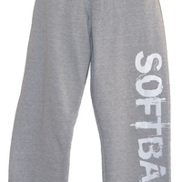 SOFTBALL Sweatpants in Grey with White Print
