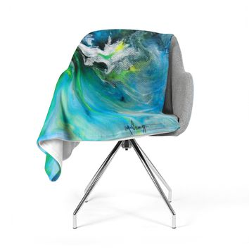 "Carol Schiff ""Turquoise And Green Abstract"" Blue Teal Fleece Throw Blanket"