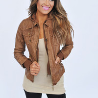 Camel Leather Hooded Jacket