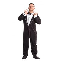 Tuxedo Adult Onesuit Footed Pajamas