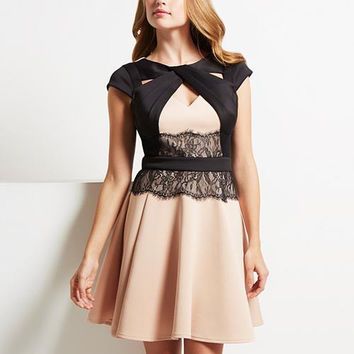 Beige Lace Pleated Mini  Dress