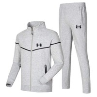 Under Armour New fashion letter print men leisure long sleeve top and pants two piece suit Light Gray