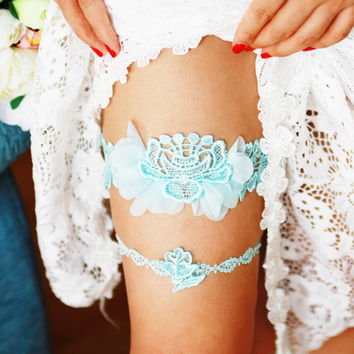 Bridal Garter Set - Beach Wedding Garter Set - Something Blue Lace Flower Garters - Vintage Inspired Garters Limpet Shell Blue Lace
