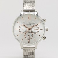 Olivia Burton Silver & Rose Gold Chrono Watch at asos.com