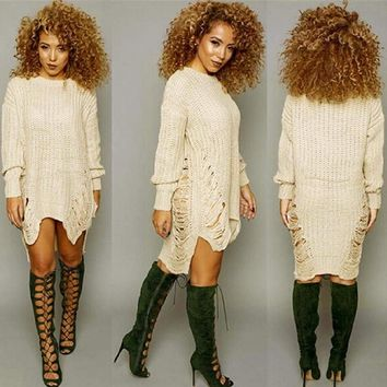 D'Luxe Knitted Ripped Sweater Dress