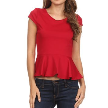 Round Neck Peplum Top