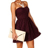 Pre-Order: Wine Strapless Lace Dress