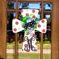 Christmas Door Hanger  Initial Polka Dot Cross l  Teacher Gift l Wedding Gift l Shower Gift l Bridal Shower l Christmas Door Hanger