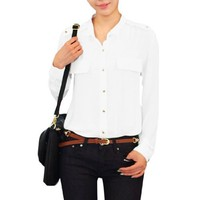 Women Point Collar Long Sleeve Button up Shirt