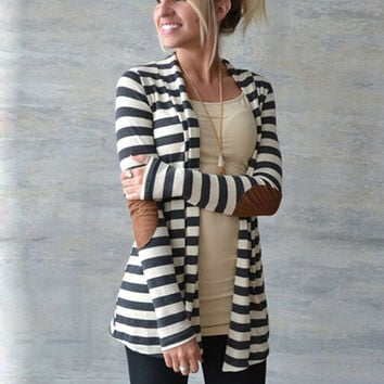 High Quality Women's Elbow Patch Long Sleeve Shawl Collar Striped Cardigan Sweater Cotton