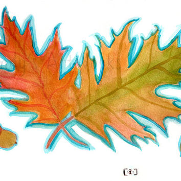 Autumn leaves - Leaf Peeping [Oak Leaves] fall colors Original Watercolor painting Art