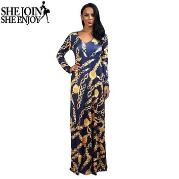 ShejoinSheenjoy 2016 Autumn Winter Dress Women V-Neck Long Sleeve Women Long Dress Metal Chain Printed Big Swing Ladies Dresses