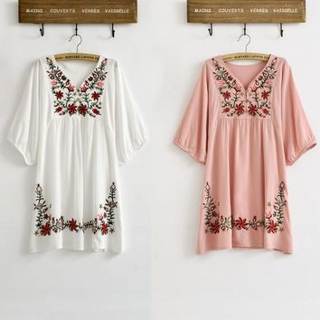 New Hot Sale Vintage 70s Mexican Ethnic Floral EMBROIDERED Hippie Blouse Tops Women Clothing Vestidos Femme S M L Plus Size