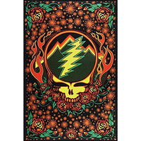 Sunshine Joy Grateful Dead 3D Steal Your Face Scarlet Fire Tapestry Tablecloth Wall Art Beach Sheet Huge 60x90 Inches - Amazing 3D Effects
