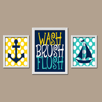 Child Bathroom Rules Wall Art CANVAS Brother Sister Bathroom Anchor Boat Nautical Wall Art Nautical Bathroom Decor Ocean Wall Art Set of 3