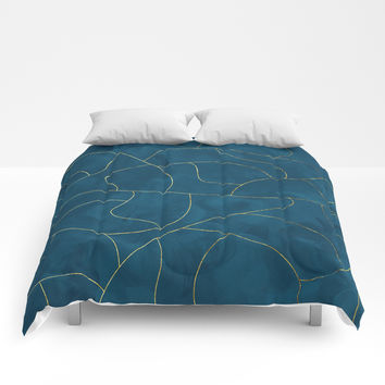Textured blue & gold Comforters by vivigonzalezart