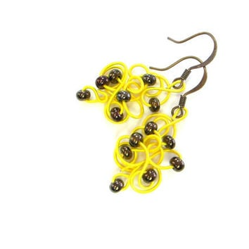 Bright Yellow Earrings Wire Jewelry Bronze Brown Beads