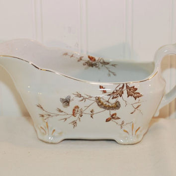 Antique J & G Meakin Ironstone China Gravy Boat (c. 1890's) Hanley England, Aesthetic Brown Floral Transferware, Vintage Ironstone, Nature