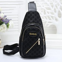 GUCCI Tredning Men Leather Backpack Bookbag Daypack Satchel Black