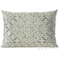 """Grey Gray Embroidered Moroccan Decorative Couch Pillow Cushion Cover - 16 X 16, 20 X 14"""""""