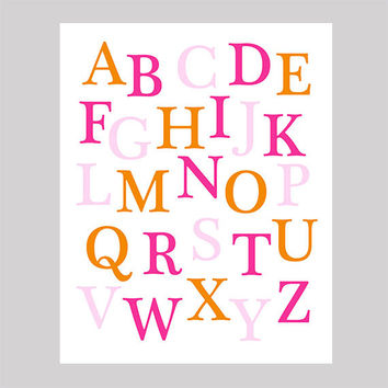 Instant Download Alphabet Hot Pink Orange Baby Pink Print CUSTOM COLORS digital nursery decor art baby room decor digital download 8x10