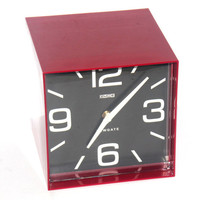 Red Retro Newgate Wall Clock, Vintage, Cubed Industrial, Home Office Decor, Antique Alchemy