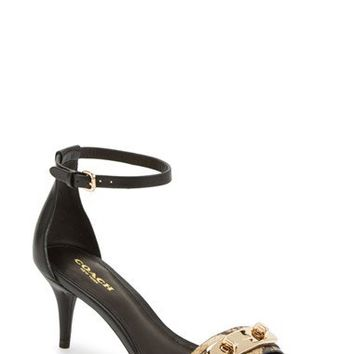 COACH 'Marcella' Snake Embossed Leather Ankle Strap Sandal (Women) | Nordstrom
