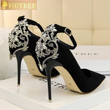 Elegant Crystal Pointed Toe Wedding Shoes - New Women's Solid Flock Fashion Buckle Shallow High Heels Shoes for Women