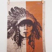 Native American Print - A3 Headdress Illustration, Orange Warpaint