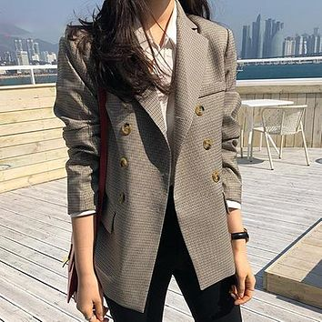 Fashion Double Breasted Women Blazer Jackets  Female Classic Plaid Jackets and Coats Ladies Check Jackets