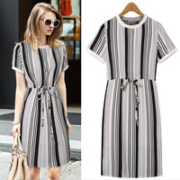 Black Stripes Drawstring Waist Tie Shift Dress