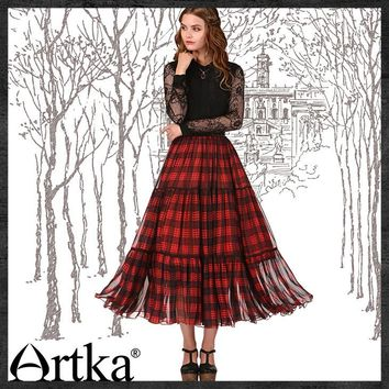 Artka Plaid Shirred Romantic Ankle-Length