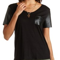 Knit & Faux Leather High-Low Tee by Charlotte Russe