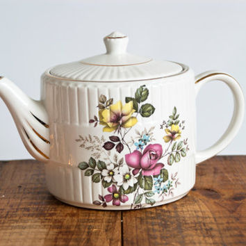 Vintage Ellgreave Ironstone Teapot, Floral English Tea Pot Wood & Sons, Made in England, Cottage Decor