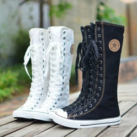 PUNK ROCK Canvas Boot Women Gril Sneaker Flat Tall Lace Up Knee High Zip Shoes [8400963719]