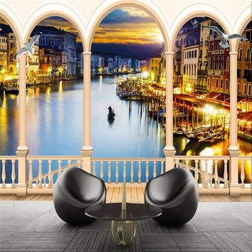 Custom photo wall paper Italy Venice Art Night Landscape Arch Living room sofa background large mural 3d wall murals wallpaper