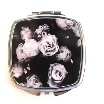 Gray Roses Compact Mirror