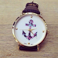 Women's Ladies Vintage Flower Watch Anchor Leather Quartz Watch Black + Gift Box