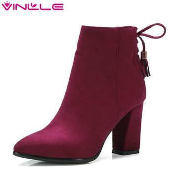 VINLLE 2018 Women Shoe Zipper Ladies Square High Heel Black Bow Tie All Match Ankle Boot Women Motorcycle Boots Size 34-43