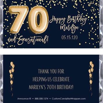 Gold Foil Balloons Birthday Candy Bar Wrappers