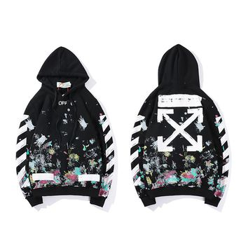 OFF WHITE Splash Star Fireworks Print Men and Women Thin Loose Sweatshirt[989131145252]