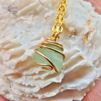 Sea Glass Necklace from Hawaii, Hawaiian jewelry with aqua blue seaglass
