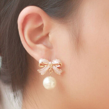 High Quality Delicate Gold Color Pink Drops Of Oil Butterfly Bow Knot Pearl Stud Earrings For Women Fashion Jewelry E22