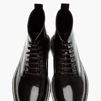 Saint Laurent Black Patent Leather Combat Boots for men | SSENSE