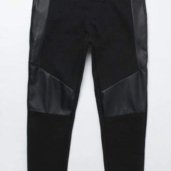 On The Byas The Drop Fit Faux Leather Jogger Pants - Mens Pants - Black