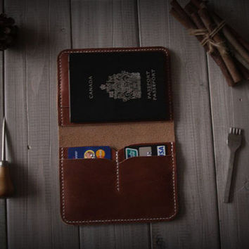 Rustic Leather  Passport Case, Unique Designed Passport Wallet Sleeve Bag, Leather Wallet - CPS hand punched and stitched