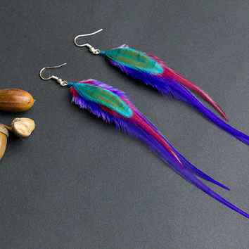 Purple feather earrings: purple earrings, purple jewelry, long earrings, light earrings, feather jewelry, gift for her, turquoise feather